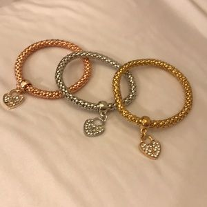 Jewelry - 3-Piece Gold, Rose Gold and Silver Bangle Bracelet